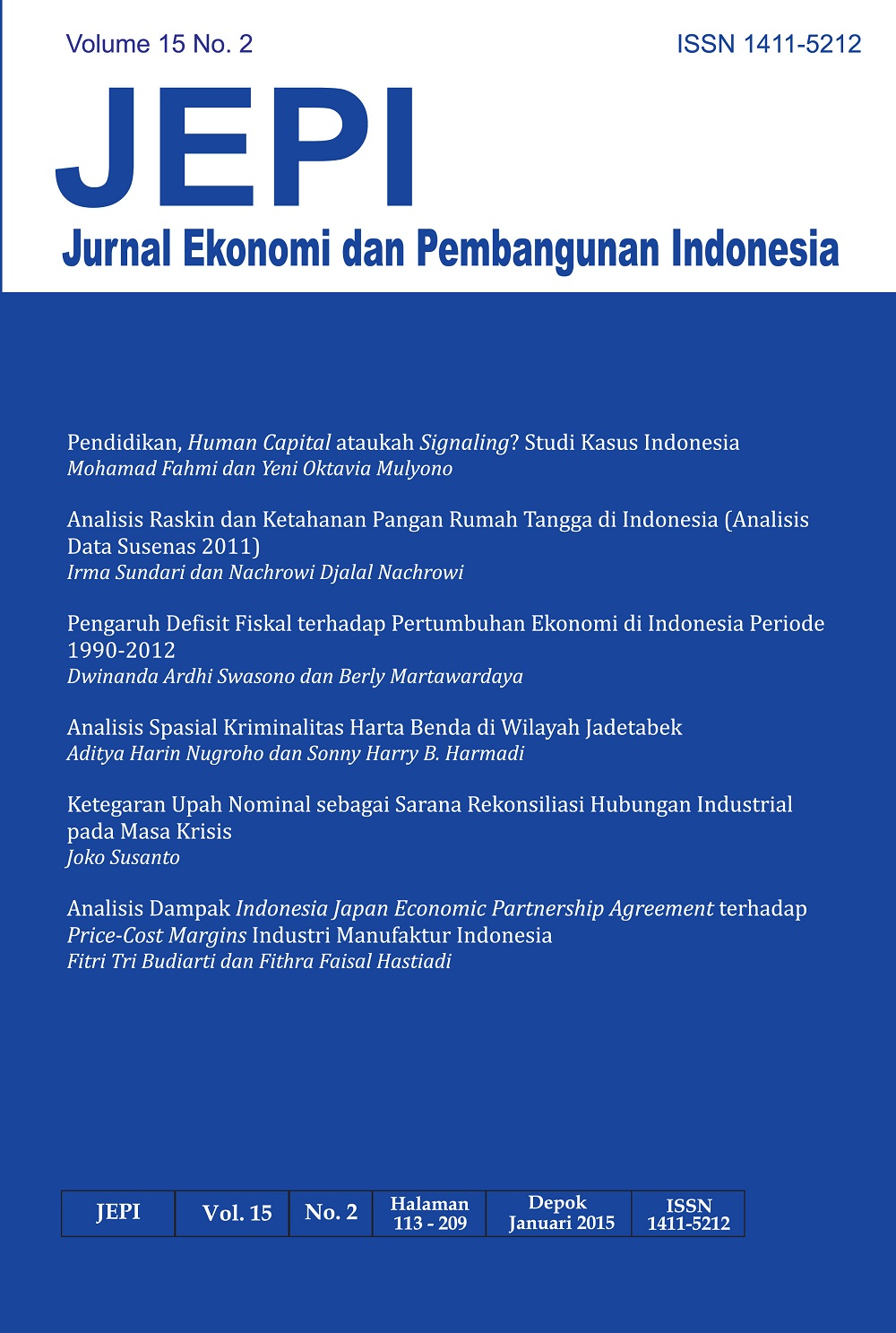 JEPI Jurnal Ekonomi Dan Pembangunan Indonesia Volume 15 No.2 Januari 2015